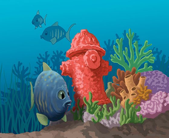Confused fish swimming by coral reef with a coral fire hydrant. Illustration: John Megahan.