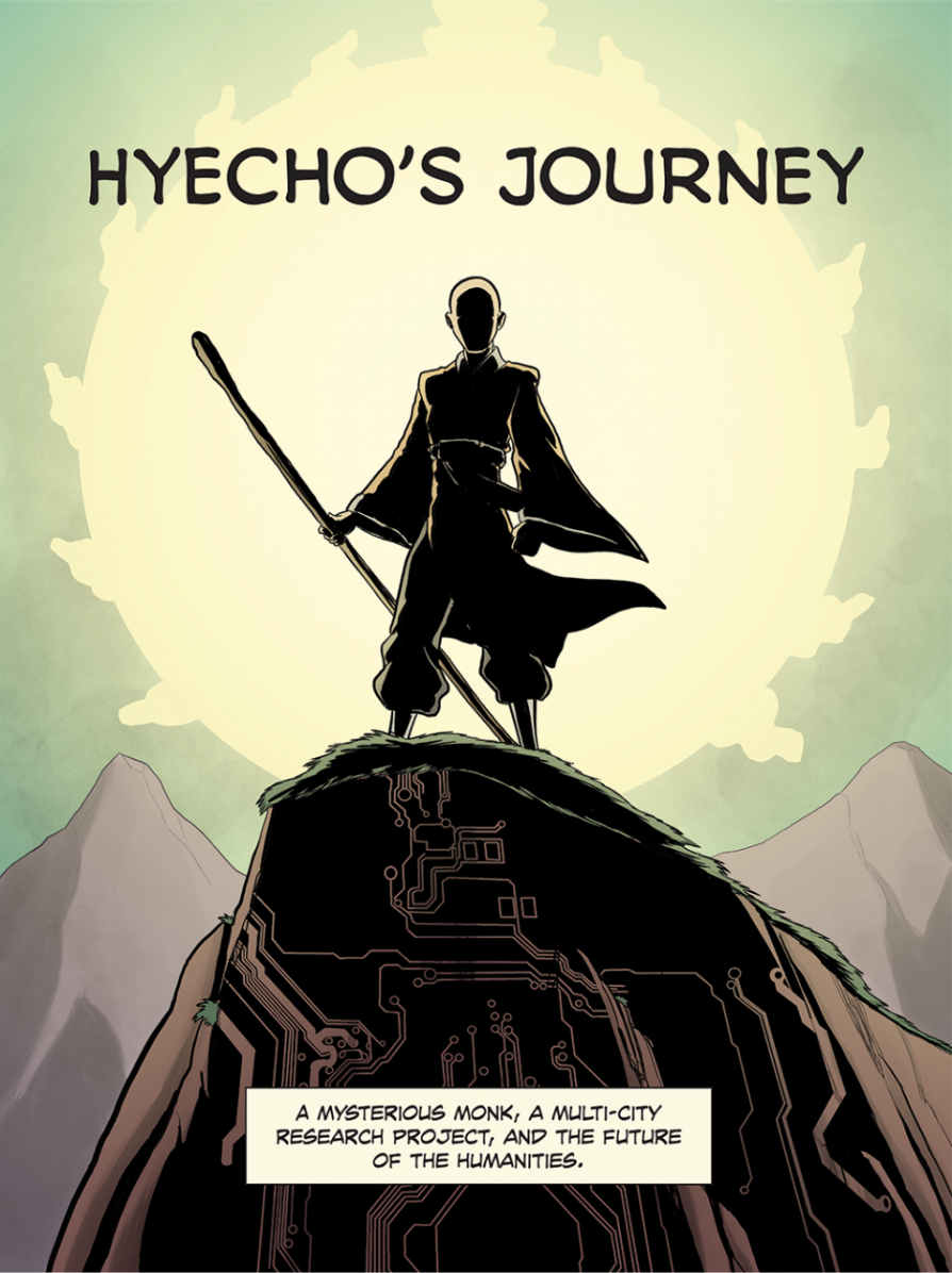 Hyecho's Journey. A cloaked silhouette of a figure in flowing robes stands atop a cliff holding a staff.