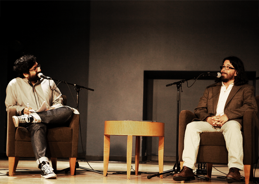 Saladin Ahmed (right) onstage with See Something, Say Something host Ahmed Ali Akbar.