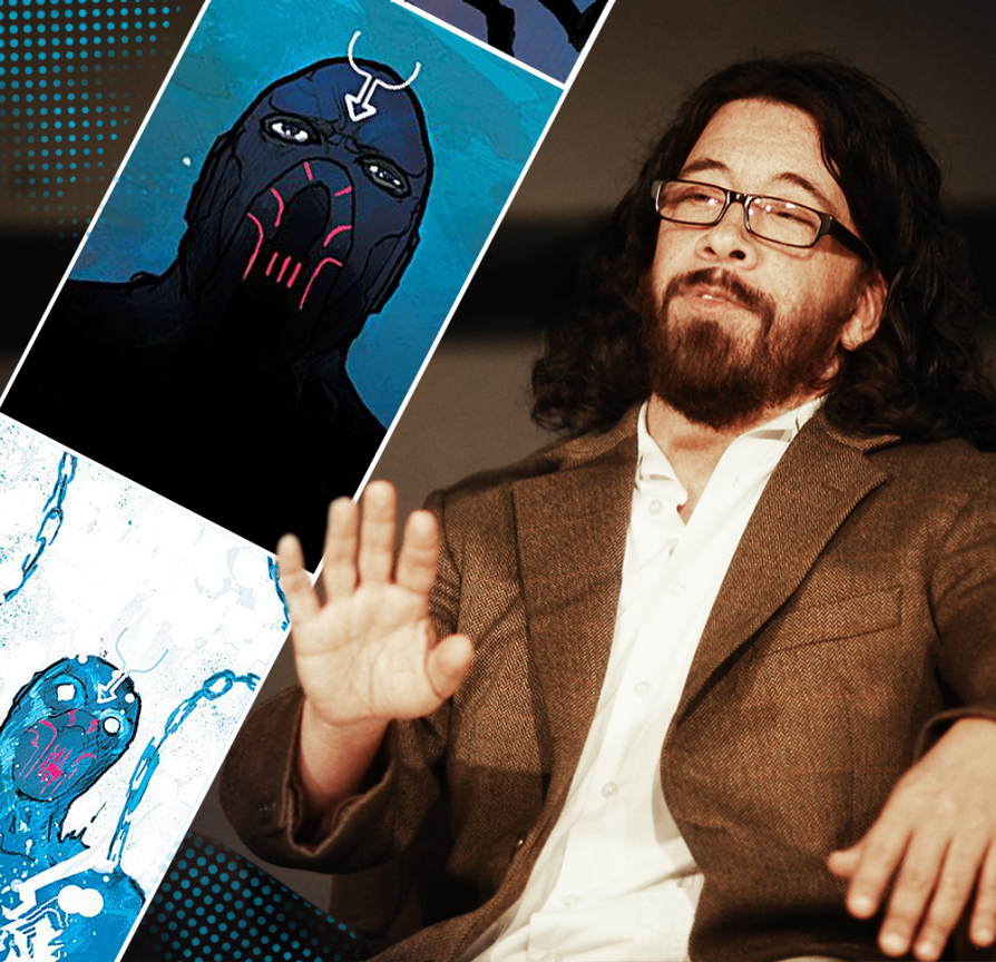 Ahmed Saladin sitting next to an illustration of Black Bolt, which was drawn by Christian Ward. The creature is blue and has a fork-like antenna worn upon his forehead that helps Black Bolt control his power. Saladin is sitting on a stage and holding his hand out.