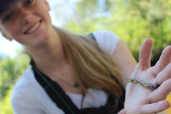 Student holding a native lamprey.
