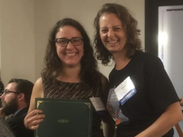 Jill Myers (right) receiving her award at the MSA annual meeting with Nora Duncritts, University of Wisconsin-Madison.