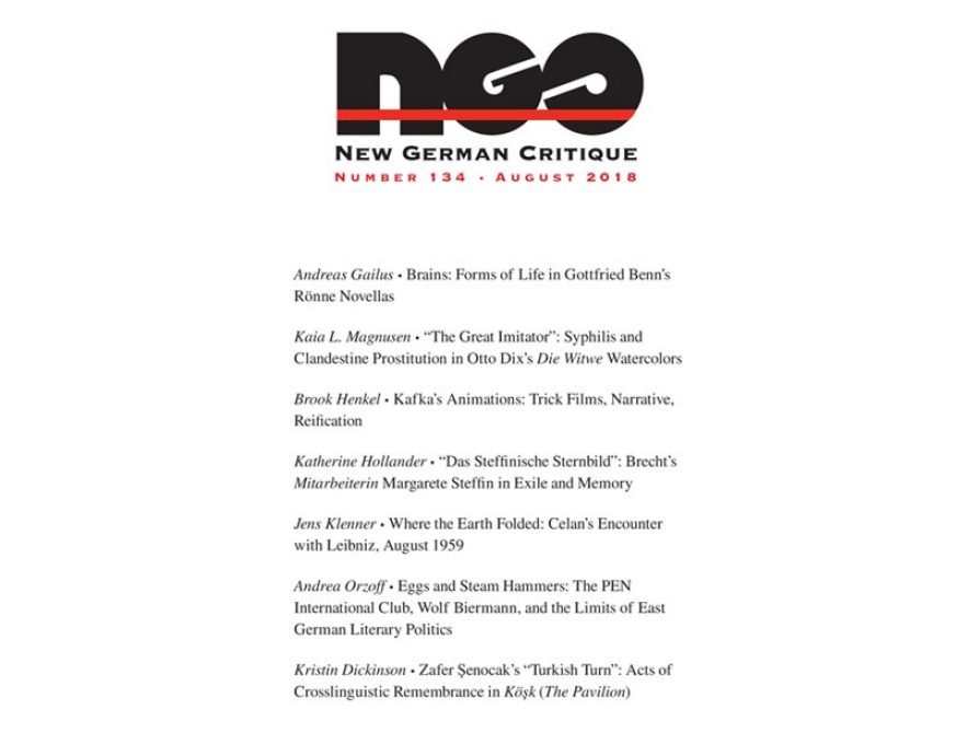 cover of New German Critique issue 134 August 2018