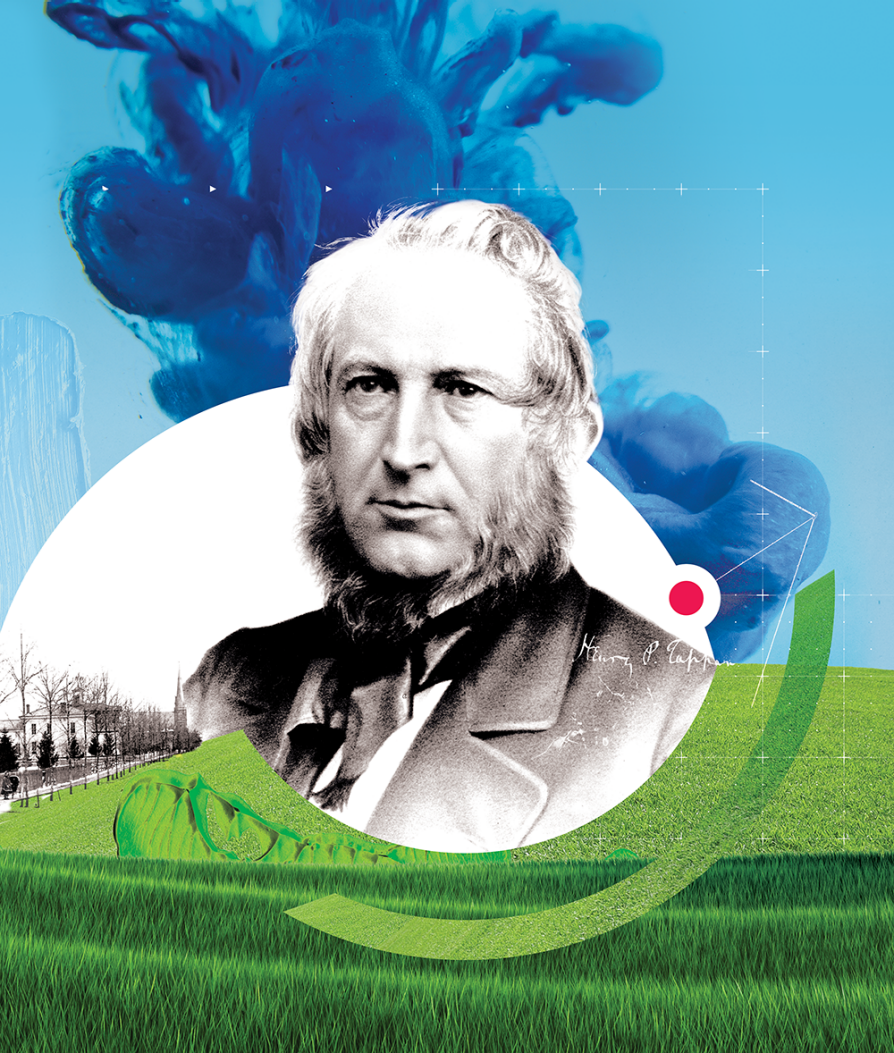 A black-and-white portrait of Tappan with a colorful illustration including grass and sky that includes a light geometric sketch