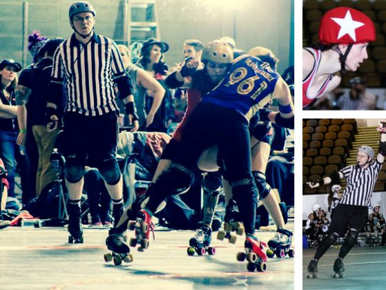 Greg Muller refereeing roller derby, scenes from roller derby game