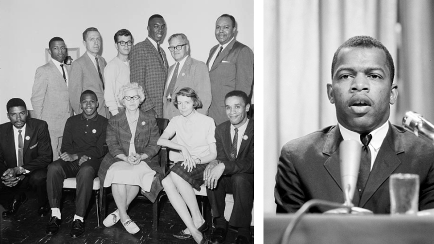 A composite of two black and white photographs. On the left, Walter Bergman stands in the back row with other members of CORE. On the right, a headshot of John Lewis speaking. There are curtains visible behind them and there is a water glass on his left.
