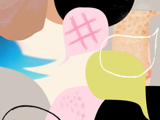 An illustration of colorful dialogue bubbles that include a hashtag