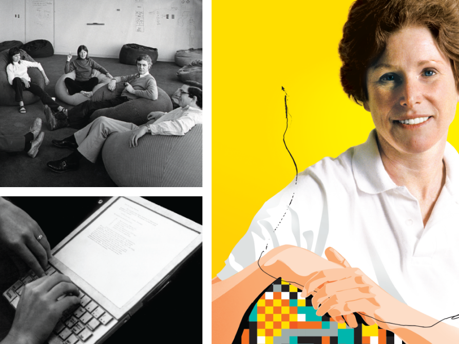 a composite of three images. One is a black and white photograph of a large room with people sitting on beanbags. Another is a black and white photo of a Dynabook, which is a screen that has a keyboard attached. There is a right hand on the keyboard. The last is a photograph of Adele Goldberg wearing a white polo shirt. The lower half of the portrait transitions into illustration