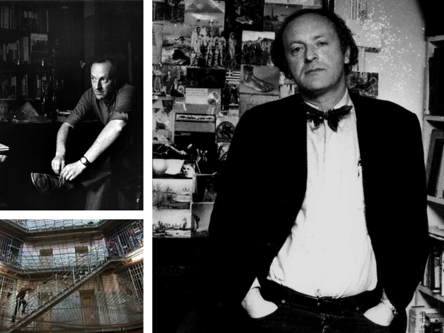 a composite of three images: one is a black-and-white photograph of Brodsky tying his left shoe. His shirtsleeves are rolled to the elbows and he's wearing a wristwatch.  Another is a photograph from inside the Kresty Prison taken from a courtyard up. It shows stairs and cell blocks. A net is strung across the courtyard between floors. The final picture is a black-and-white photograph of Brodsky wearing a black coat, a white shirt, and a bowtie. He has his hands in his pocket. There is a messy bookshelf to his left and snapshots on a wall behind his right shoulder.