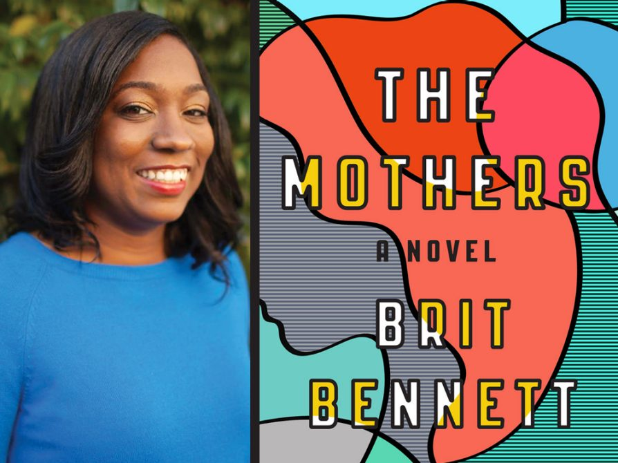 A divided image. The left side is Brit Bennett wearing a blue sweater against a leafy background. The right is the cover of The Mothers, which is most of a profile of a woman looking to the left colored in red, pink, gray and turquoise.