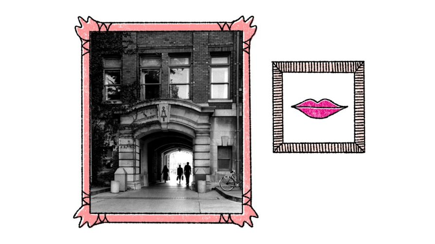 Two images: on the left, a photograph of the West Engineering arch surrounded by an illustrated picture frame; on the right, an illustration of lips surrounded by a frame.