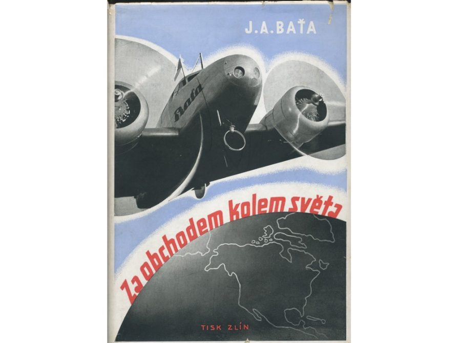 Dust jacket of J. A. Bata's Flying for Business Around the World, Zlín 1937