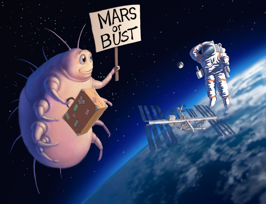 A bulging mite carrying luggage and a sign that reads Mars of Bust, floating in space by the Space Station while an astronaut looks on, perplexed.