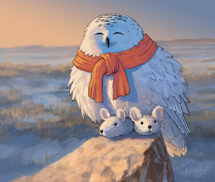 A drawing of a snowy owl wearing fuzzy rabbit slippers. Illustration: John Megahan