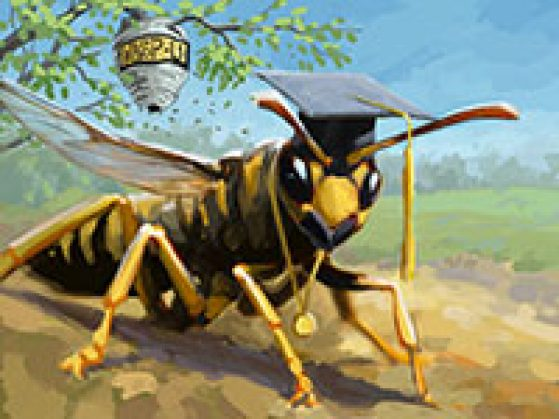 A wasp wearing a graduation cap with a hive hanging from a tree behind it that reads WASP U