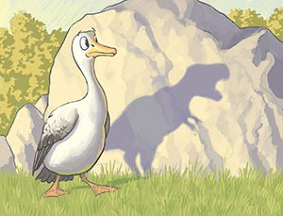 A surprised and frightened bird seeing its T-Rex shaped shadow on a rock. Illustration: John Megahan