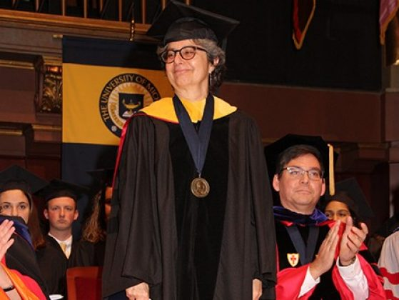 Deborah Goldberg receiving the Thurnau Professorship at the Honors Convocation.