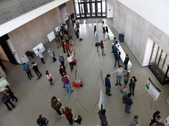 A bird's-eye view of the poster session where students and postdocs from several universities presented their research.