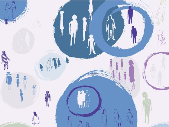 Illustration of people having conversations. The people are different sizes and colors -- purple, green with white dots. Some are sitting. Some are standing. Some are enclosed within a circle. Some are not.