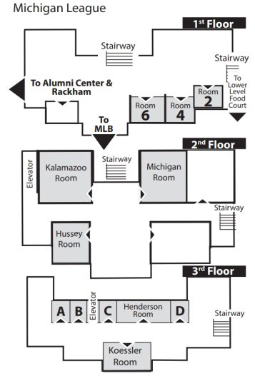 Map of the three floors of the Michigan League, with the competition rooms labeled.