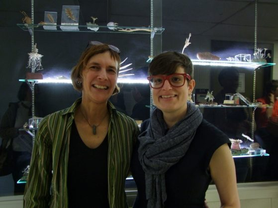 Kerstin Barndt (left) and Alice Goff (right) at the Blaschka Exhibit Opening on March 24, 2017