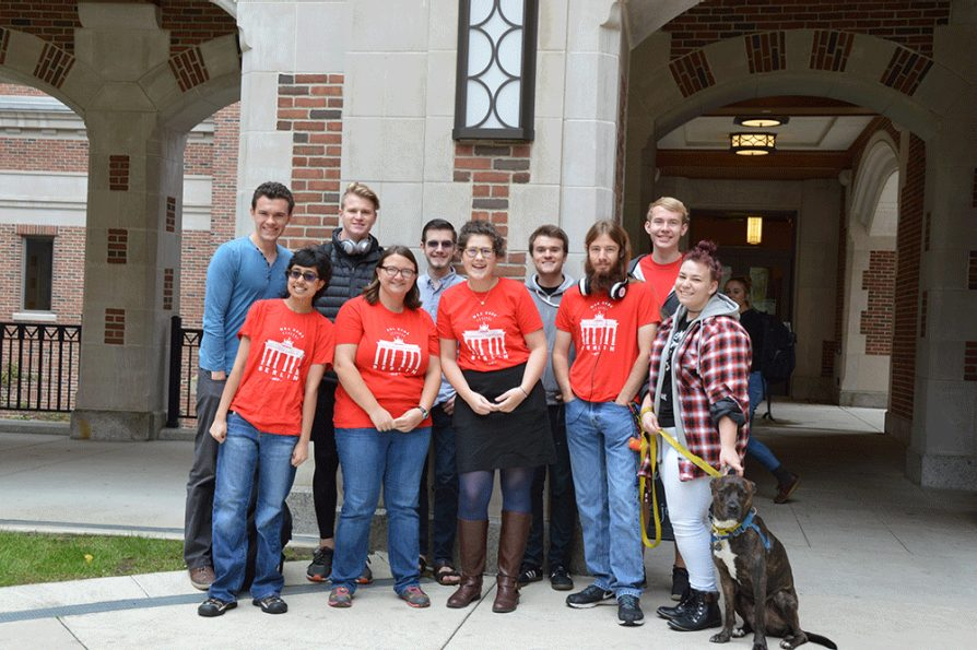 Ten students in front of North Quad
