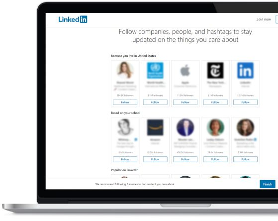 LinkedIn Follow Interests Page