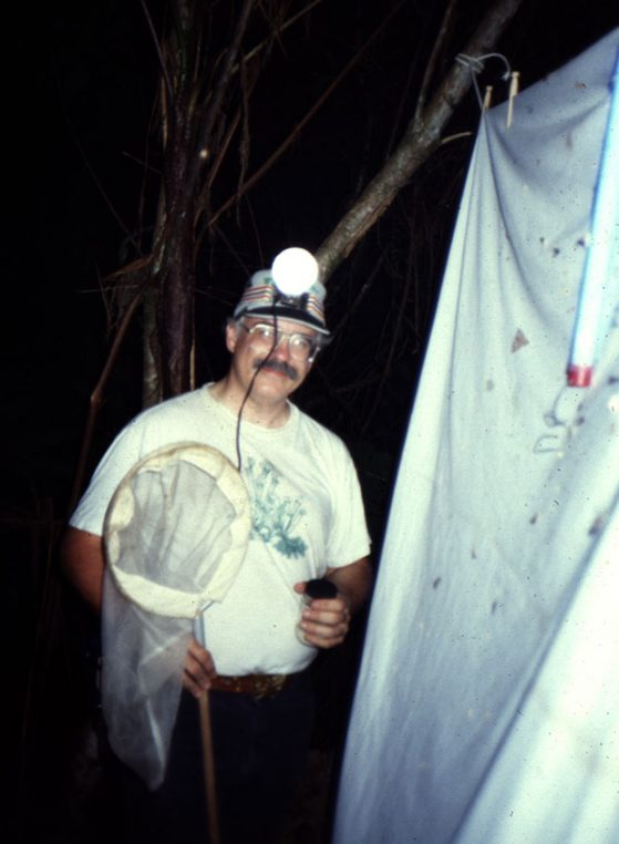Barry OConnor collecting insects/mites in Costa Rica (~1990).
