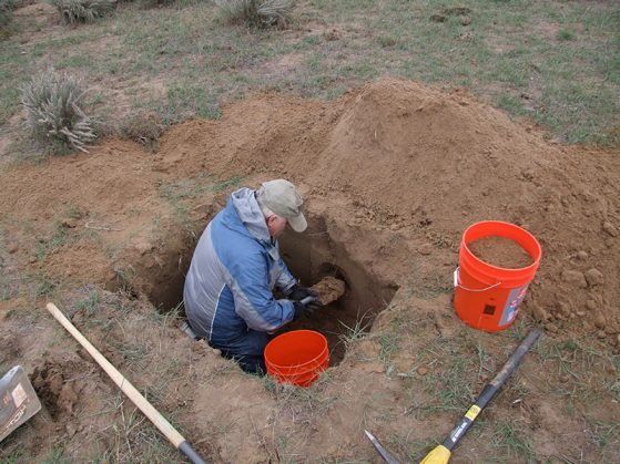 Barry OConnor collecting deep soil mites in Colorado (2008).