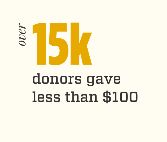 Over 15K donors gave less than $100